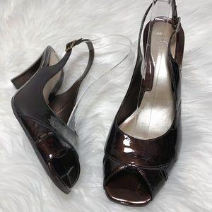 Alex Marie Brown Patent Leather Peep Toe Pumps 9.5